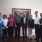 Diretor  Munehiro Niwano, Cônego José Bizon, Reverendo Nakahara e Equipe da Casa da Reconciliação